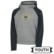 Jordan University of Michigan Basketball Youth Gray/Anthracite Spotlight Therma-FIT Hooded Sweatshirt