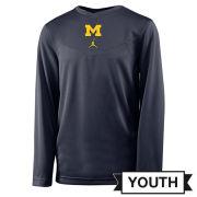 Jordan University of Michigan Football Navy Coaches Long Sleeve Dri-FIT Tee