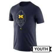 Jordan University of Michigan Football Youth Navy Dri-FIT Legend Icon Tee
