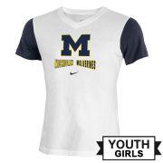 Nike University of Michigan Youth Girls White/ Navy V-Neck Tee