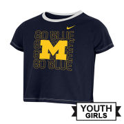 Nike University of Michigan Youth Girls Navy ''M Go Blue'' Crop Tee