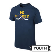 Nike University of Michigan Hockey Youth Navy Crossed Sticks Tee