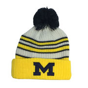 New Era University of Michigan Traditional Striped Cuffed Knit Hat