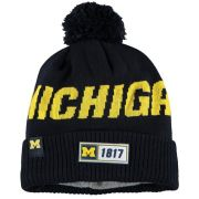 New Era University of Michigan Navy Sideline Road Pom Cuffed Knit Hat