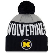 New Era University of Michigan Navy/Gray Patch Pom Cuffed Knit Hat