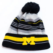 New Era University of Michigan Striped Pom Cuffed Knit Hat