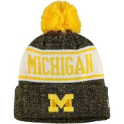 New Era University of Michigan Banner Cuffed Pom Knit Hat