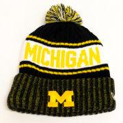 New Era University of Michigan Navy/Yellow Marled Cuffed Pom Knit Hat