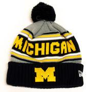 New Era University of Michigan Cheer Cuffed Pom Knit Hat