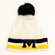 New Era University of Michigan White Retro Cuffed Pom Knit