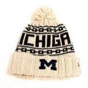 New Era University of Michigan Women's Stone Cuffed Pom Knit Hat