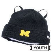 New Era University of Michigan Youth Navy Cozy Cuti Cuffed Knit Hat with Ears