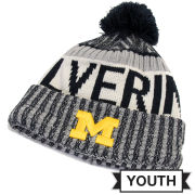 New Era University of Michigan Youth Navy Sport Cuffed Knit Hat with Pom