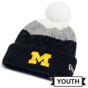 New Era University of Michigan Youth Layered Up Cable Knit Cuffed Hat with Pom