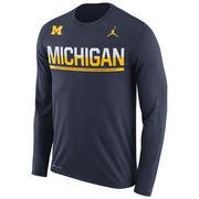 Jordan University of Michigan Football Navy Long Sleeve Dri-FIT Legend Tee