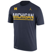 Jordan University of Michigan Football Navy Dri-FIT Legend Staff Sideline Tee