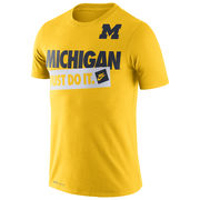 Nike University of Michigan Yellow Dri-FIT Cotton Just Do It Tee