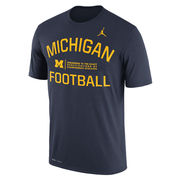 Jordan University of Michigan Football Navy Dri-FIT Legend Lift Tee