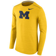 Nike University of Michigan Football Yellow Dri-FIT Long Sleeve Player Top