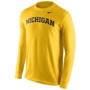Nike University of Michigan Yellow Long Sleeve Basic Tee