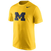 Nike University of Michigan Yellow Basic Block 'M' Logo Tee