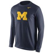 Nike University of Michigan Navy Long Sleeve Basic Block 'M' Logo Tee