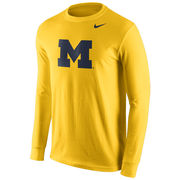 Nike University of Michigan Yellow Long Sleeve Basic Block 'M' Logo Tee
