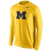 Nike University of Michigan Yellow Long Sleeve Basic Block 'M' Logo Tee