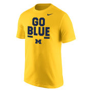 Nike University of Michigan Yellow 'Go Blue' Tee