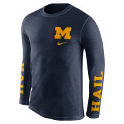 Nike University of Michigan Navy Long Sleeve Triblend Fresh Tee