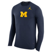 Jordan University of Michigan Basketball Navy ''March'' Long Sleeve Dri-FIT Shooting Shirt