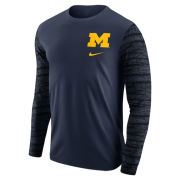 Nike University of Michigan Navy Long Sleeve Enzyme Washed Camo Sleeve Tee