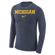 Nike University of Michigan Heather Navy Long Sleeve Marled Basic Tee