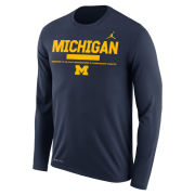 Jordan University of Michigan Football Navy Long Sleeve Dri-FIT Legend Staff Sideline DNA Tee