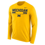 Nike University of Michigan Football Yellow Long Sleeve Dri-FIT Legend Staff Sideline DNA Tee