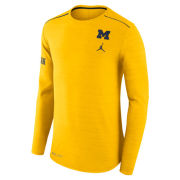 Jordan University of Michigan Football Heather Yellow Long Sleeve Players Breathe Dri-FIT Top