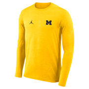 Jordan University of Michigan Football Heather Maize Coaches Long Sleeve Dri-FIT Tee