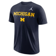 Jordan University of Michigan Football Navy Dri-FIT Cotton Facility Tee