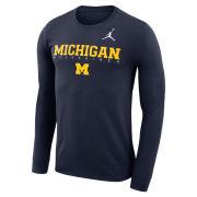 Jordan University of Michigan Football Navy Long Sleeve Dri-FIT Cotton Facility Tee
