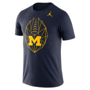 Jordan University of Michigan Football Navy Dri-FIT Cotton Icon Tee
