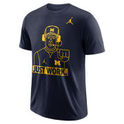 Jordan University of Michigan Football Navy ''Just Work'' Dri-FIT Cotton Tee