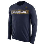 Jordan University of Michigan Football Navy Long Sleeve Sideline Dri-FIT Legend Tee