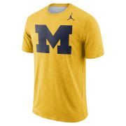Jordan University of Michigan Football Maize Sideline Dri-FIT Cotton Slub Tee