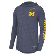 Nike University of Michigan Heathered Navy Marled Long Sleeve Hooded Tee