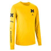 Jordan University of Michigan Basketball Maize Long Sleeve Elevated Dri-FIT Cotton Tee