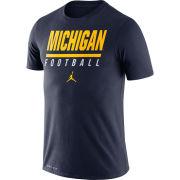 Jordan University of Michigan Football Navy Icon Wordmark Dri-FIT Cotton Tee