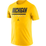 Jordan University of Michigan Football Maize Icon Wordmark Dri-FIT Cotton Tee