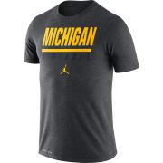 Jordan University of Michigan Football Charcoal Gray Icon Wordmark Dri-FIT Cotton Tee