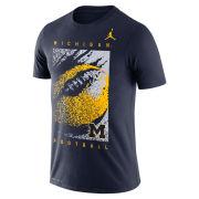 Jordan University of Michigan Football Navy Dri-FIT Cotton FootbALL Tee