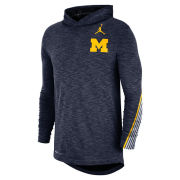 Jordan University of Michigan Football Heather Navy Dri-FIT Cotton Sideline Hooded Tee